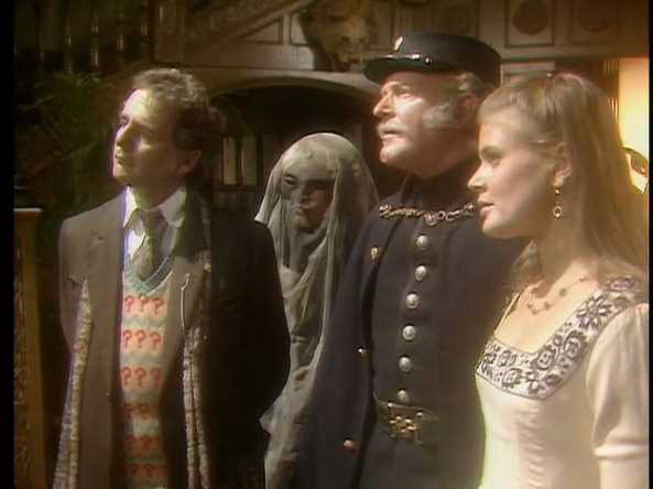 From left to right: the Doctor, Control, Inspector Mackenzie, and Ace